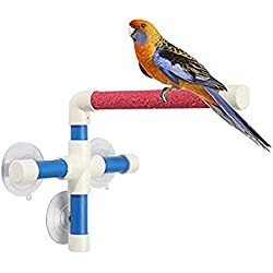 Portátil ventosa ducha Perca soporte para Parrot Budgies pájaros periquito cacatúas Conure Lovebirds Guacamayo baño grises africano cacatúa de perca