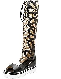 9166e319 RAZAMAZA Mujer Gladiador Peep Toe Bottilons Sandalias Clasico Tacon De Cuna  Tacon Alto Cordones Zapatos