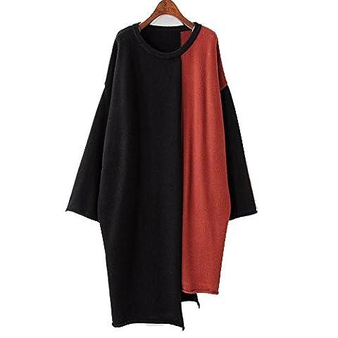 Sunny Dream L'automne et l'hiver pour femmes Sweater sweater coutures irrégulières de grandes robes pulls relaxe, code, Retro sort rouge color