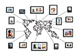 Vanetti Wanddekoration Weltkarte, geometrisch, Metall, inkl. 15 Bilderrahmen