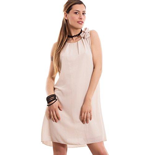 Toocool - Vestito donna miniabito abito velato rosa corto svasato ampio nuovo CC-1367 Beige
