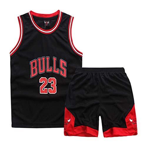 Formesy Basketball-Trikots Set für Kinder - NBA Nr.23 Bulls Jordan Kinder Basketballanzug Basketball Trikots Jersey Set für Kid Jungen Mädchen