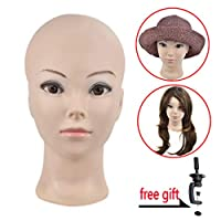 Bald Female Training Head Bald Mannequin Head Manikin Doll Head for Wig Making,Glasses, Hat Display with Clamp