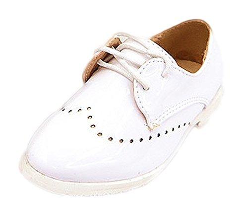 Kinderschuhe Festliche Jungen Schuhe Lackschuhe Kommunion Hochzeit Gr. 19 bis 36 schwarz oder Weiss, Grössen Schuhe:33;Farbe:Weiss (Für Kommunion Jungen Weiße Schuhe)