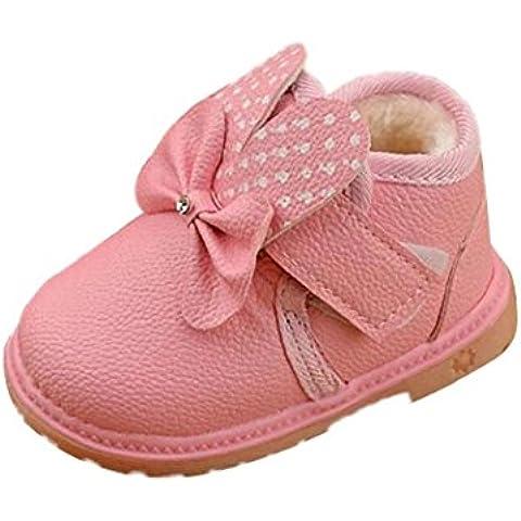 Koly Niña 0-2 años de edad, las orejas de conejo lindo de terciopelo caliente zapatos de suela blanda (19,