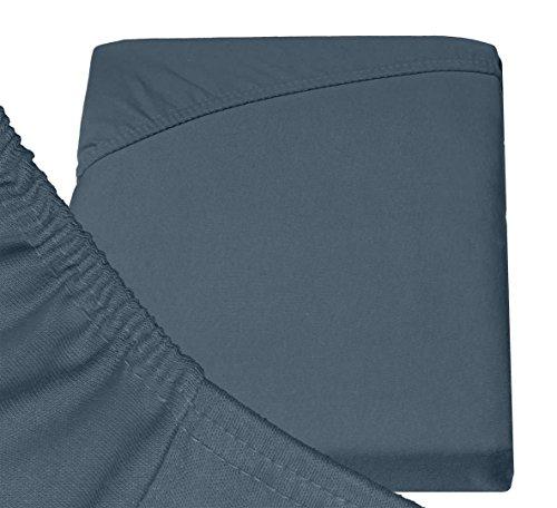 Double Jersey - Spannbettlaken 100% Baumwolle Jersey-Stretch bettlaken, Ultra Weich und Bügelfrei mit bis zu 30cm Stehghöhe, 160x200x30 Anthrazit - 6