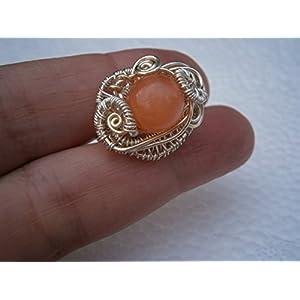 Ring pastell orange rosa handmade versilbert wirework Quarz als Geschenk im Etui