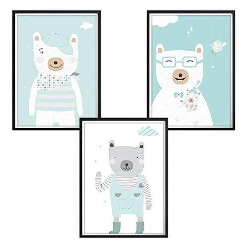 3er-Set DINA4 Poster für Kinderzimmer und den Bilderrahmen, Kinderposter, Babyzimmer Bilder, Baby Bilder, Dekoration Kinderzimmer