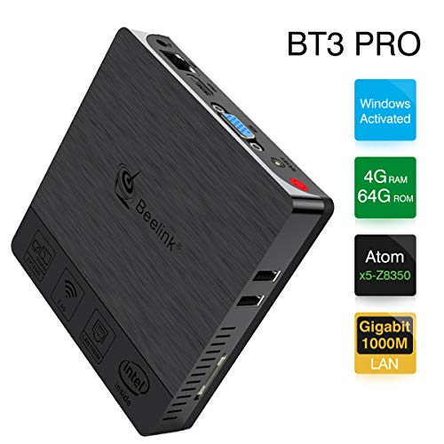 Beelink BT3 Pro Mini PC, RAM 4GB+ROM 64GB, Windows System, Processor: Intel Atom x5-Z8350, GPU: Gen-9, Dual WiFi 1000 Mbps, Soportes 4K, H.265, BT, Color Black[optimized version]