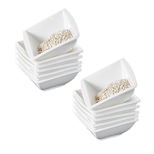 MALACASA, Série Blance, 12 Bols à Céréales Porcelaine, Bols à Soupe, Bols à Tapas et Sauces pour 12 Personnes
