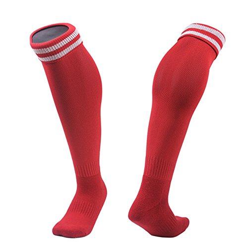 ESTAMICO Unisex Kinder Rutschfest über Knie Hohe Fußball Socken 1 Paar Rot 14+ Jahre