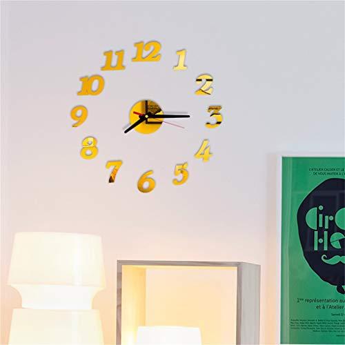 DIY Abnehmbare wanduhr einfache ziffern spiegeleffekt acrylglas aufkleber für hauptdekoration Dekoration Ideal für Haus Büro Hotel ABsoar
