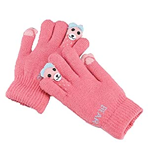 Kinder Winter Voll Finger Gestrickte Handgelenk Handschuhe Cartoon Handschuhe Jungen Mädchen Skifahren Winddicht Outdoor Handschuhe (Farbe : Rosa)