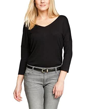 Comma Damen Pullover Regular Fit 81.401.61.0004 PULLOVER LANGARM, Gr. 44, Schwarz (9999 black)