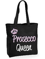 Prosecco Queen schwarz Baumwolle Qualität Einkaufstasche wiederverwendbar Shopper