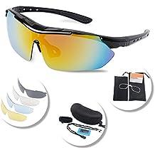e1d4c395c7ecd Gafas Polarizadas Deporte Bici Anti UV400 Gafas Para Correr Running  Antivaho con 5 Lentes Intercambiables Adaptadas
