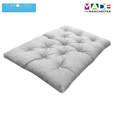 Triple   3 Seater   Memory Foam Futon Mattress   Roll Out Bed   Guest Bed   Cream   190cm x 140cm   UK Manufactured   9 Colours Available   3 Sizes Available
