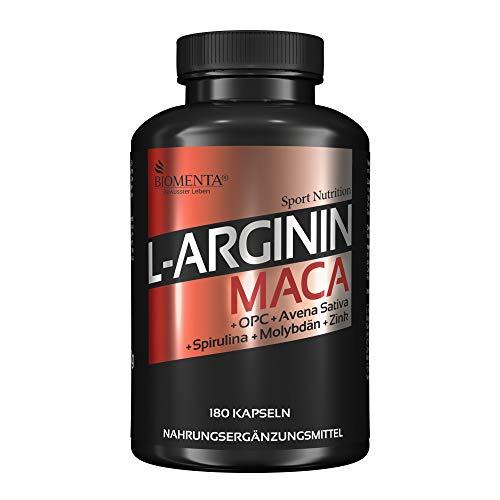 BIOMENTA L-ARGININ + MACA HOCHDOSIERT | AKTIONSPREIS!!! | 2.000 mg Arginin + 4.000 mg Maca + OPC-Traubenkernextrakt + Zink + Avena Sativa + Spirulina Algen pro Tag | 180 L-Arginin-Maca-Kapseln
