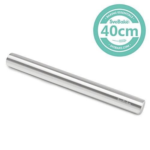 SveBake Edelstahl Nudelholz - Fondant Teigrolle Edelstahl Teigroller Rolling Pin Teigroller Perfekt für Bäcker 40 cm
