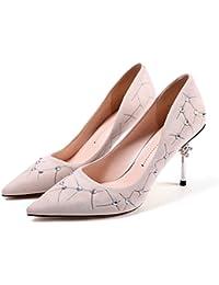 Dünne Damen Schuhe Flache Schuhe Dicke Ferse, Runder Kopf, Grau -2,42 LEIT