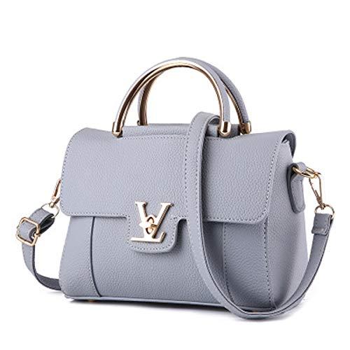 Sac à bandoulière en cuir de qualité supérieure pour femme 2018 Messenger sac V boucle boucle sac de soirée sac de rue petit sac carré (Gris clair, 24×12×17cm)