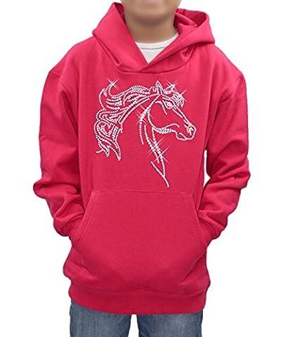 Personalised diamante half horse hoodie custom name of your choice in sparkly rhinestones children sweatshirt ideal gift present -Hot Pink