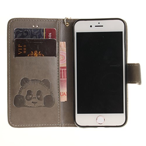 Pheant® Apple iPhone 7 (4.7 pouces) Coque Rouge Étui à Rabat Pochette en Cuir PU Cover Gel Housse de Protection avec Fonction de Support et Fermeture Magnétique Panda Motif de daufrage Gris