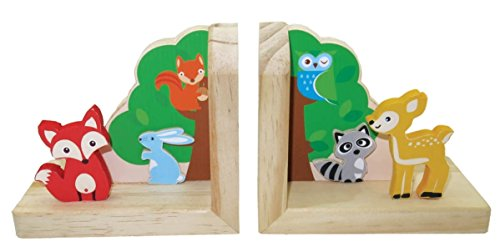 Inware 23009 - Buchstützen Waldtiere, 2er-Set, aus Holz