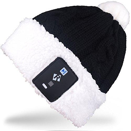 Rotibox Elegante lampadina a LED illuminazione cappello Beanie cappello a maglia Pom Pom Lampada a scintillio per i bambini Interni ed esterni, Festival, festività, feste, feste, bar, regali di Natale - Nero