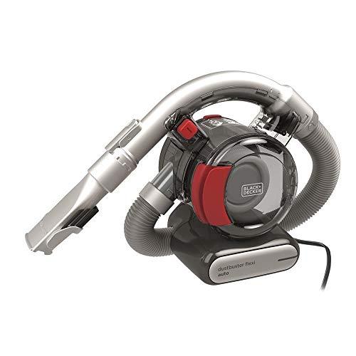 Black+Decker PD1200AV Aspirador de Mano para Coche, Ciclónico, Tubo Flexible, Adaptador para Mechero, 12 V, Rojo y Gris