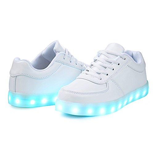 SAGUARO® Jungen Mädchen Turnschuhe USB Lade Flashing Schuhe Kinder LED leuchtende Schuhe mit farbigen Schnürsenkel Weiß