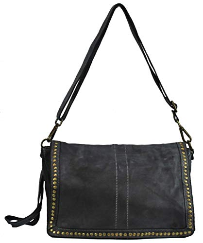BZNA Bag Gil Grau grey Italy Designer Clutch Umhängetasche Damen Handtasche Schultertasche Tasche Leder Shopper Neu