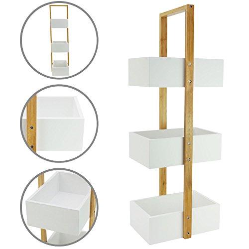 1PLUS 'Rauma' Badregal Standregal Küchenregal mit 3 Ablagefächern aus Bambus