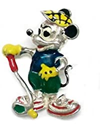 925m Silber Anhänger Law emaillierten Mickey Mouse Golf 29.5mm. [AB4121]