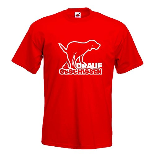 Kiwistar drauf geschissen - Scheiße - Kacke T-Shirt in 15 Verschiedenen Farben - Herren Funshirt Bedruckt Design Sprüche Spruch Motive Oberteil Baumwolle Print Größe S M L XL XXL Rot
