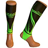 Hockey shin pad/shin guard inner sock (Black/Green PRO, Adult)