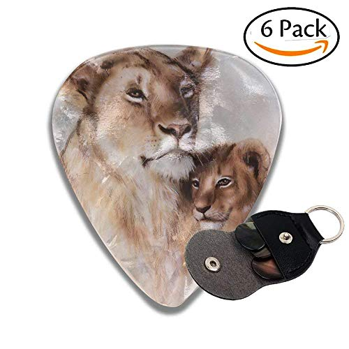 Ba Cub Together Lion Motherly Nature Warm Love Artistic Safari Stylish Celluloid Guitar Picks Plectrums For Guitar Bass .6 Pack 46mm ()