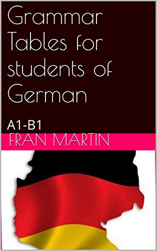 Grammar Tables for students of German: A1-B1 level