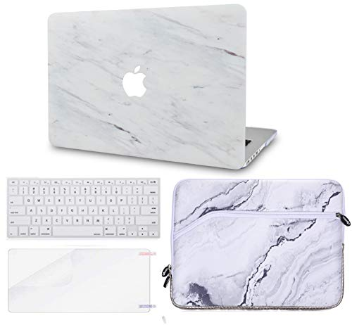 Luvcase MacBook Case mit Tastaturhülle Mehrfarbig Silk White Marble with Sleeve, Keyboard Cover and Screen Protector A1278 Old Pro 13