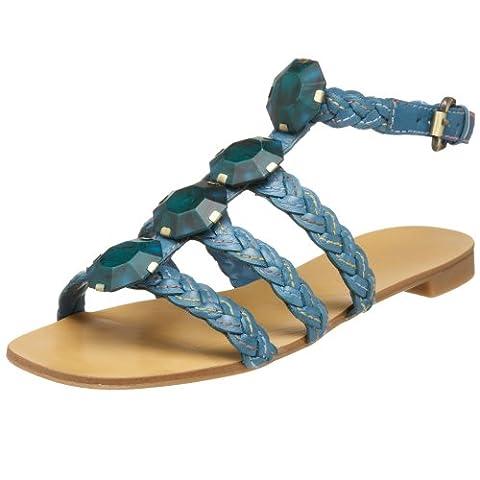 Nine West Womens Ankle Strap Flat Sandal NWRADIOWAVE MEDIUM BLU