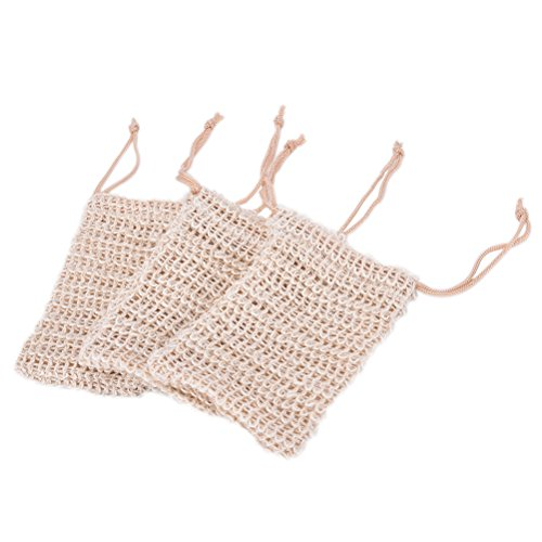 SevenMye 3 Pcs Sisal Soap Bag, Shower Bath Exfoliating Natural Sisal Soap Saver Pouch Holder