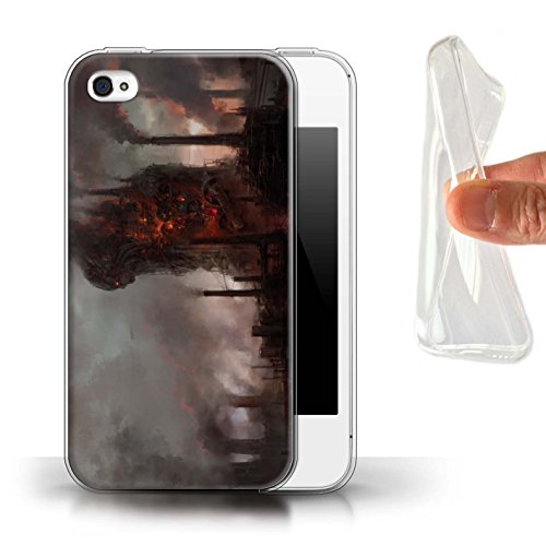 Offiziell Chris Cold Hülle / Gel TPU Case für Apple iPhone 4/4S / Schiffswrack Muster / Gefallene Erde Kollektion Industrie Maschine