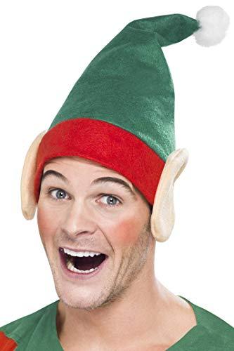 Smiffys Unisex Kleiner Helfer Hut mit Ohren und Bommel, One Size, Grün, ()
