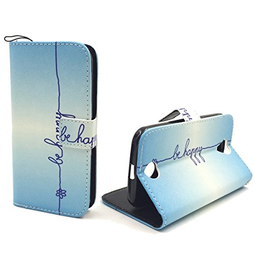 König-Shop Acer Liquid Z330 Klapp-Hülle aus Kunst-Leder | Inklusive Panzer Schutz Glas 9H | Sturzsichere Flip-Case Handyhülle in Blau | Im Be Happy Blau Motiv