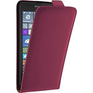 Couverture en cuir artificiel pour Microsoft Lumia 640 - Flip-Case rose chaud - Cover PhoneNatic Cubierta + films de protection