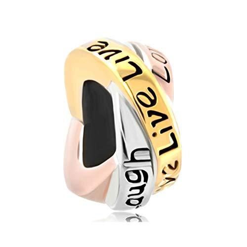 Poetic Charms 925 Sterling Silber Leben lieben Lachen Glücklich Trinity Ring Tricolor Charm für Europäische Armband Halskette - Geburtsstein Ring, Charms Halskette,