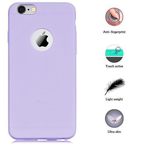 2pcs Apple iphone 6 Coque Protection écran Soft Case silicone flexible TPU en silicone flexible Housse de protection en silicone antidérapante Slim Fit avec couleur Candy Solaxi (Violet + vert) violet