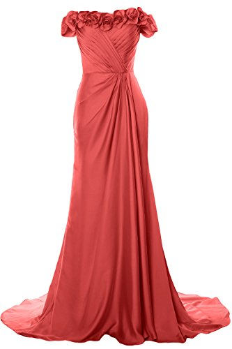 MACloth Women Off Shoulder with Flowers Long Prom Dress 2018 Evening Formal Gown Wassermelone