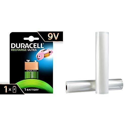 Duracell Recharge Ultra 9 V Batterien, 1er Pack & AmazonBasics 30 cm x 600 cm, 2 Rollen für Vakuumierer (Akku-ladegerät 9v Energizer)
