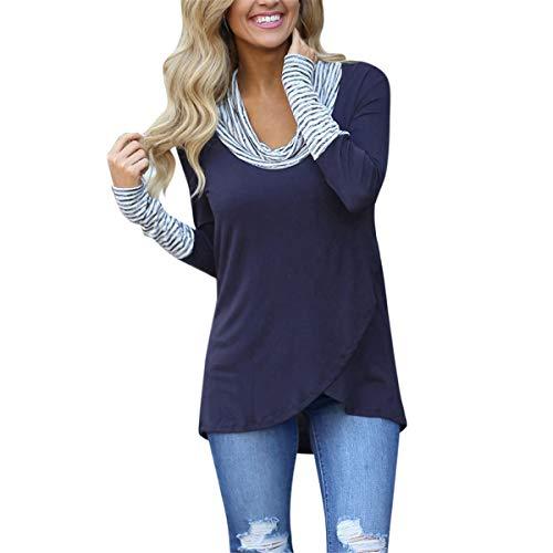 B-commerce Damen Hoodies Damen-Pullover mit U-Boot-Ausschnitt Streifen Langarm-Sweatshirt Unregelmäßige Gemütliche Herbst-Tunika -